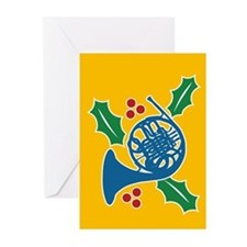 French Horn Holly Greeting Cards (Pk of 20)