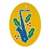 Saxophone Holly Oval Ornament
