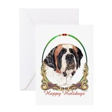 St Bernard Happy Holidays Greeting Card