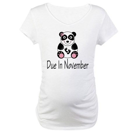 Panda Bear November Maternity T-Shirt