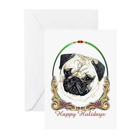 Pug Dog Happy Holidays Greeting Cards (Pk of 10)