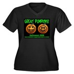 Great Pumpkins Women's Plus Size V-Neck Dark T-Shi