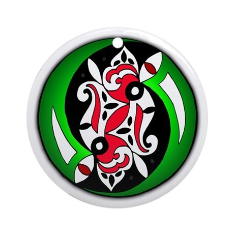 Christmas Celtic Spirals Ornament (Round)
