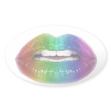 rainbow lips Oval Decal