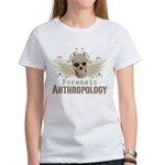 Forensic Anthropology Women's T-Shirt - A paint spattered grunge skull with wings and floral design in khaki, olive and brown hues. Forensic anthropology apparel and gifts for a forensic anthropologist, scientist, student, teacher or grad. - Availble Sizes:Small,Medium,Large,X-Large,2X-Large (+$3.00) - Availble Colors: White