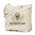 Forensic Anthropology Tote Bag - A paint spattered grunge skull with wings and floral design in khaki, olive and brown hues. Forensic anthropology apparel and gifts for a forensic anthropologist, scientist, student, teacher or grad.