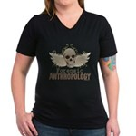 Forensic Anthropology Women's V-Neck Dark T-Shirt - A paint spattered grunge skull with wings and floral design in khaki, olive and brown hues. Forensic anthropology apparel and gifts for a forensic anthropologist, scientist, student, teacher or grad. - Availble Sizes:Small,Medium,Large,X-Large,2X-Large (+$3.00),3X-Large (+$3.00) - Availble Colors: Black,Silver,Navy,Charcoal,Kelly,Coral,Garnet