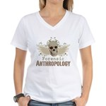Forensic Anthropologist Women's V-Neck T-Shirt - A paint spattered grunge skull with wings and floral design in khaki, olive and brown hues. Forensic anthropology apparel and gifts for a forensic anthropologist, scientist, student, teacher or grad. - Availble Sizes:Small,Medium,Large,X-Large,2X-Large (+$3.00),3X-Large (+$3.00) - Availble Colors: White