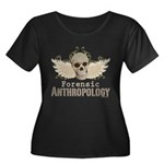 Forensic Anthropology Women's Plus Size Scoop Neck - A paint spattered grunge skull with wings and floral design in khaki, olive and brown hues. Forensic anthropology apparel and gifts for a forensic anthropologist, scientist, student, teacher or grad. - Availble Sizes:1 (16/18),2 (20/22),3 (24/26),4 (28/30),5 (32/34) - Availble Colors: Black,Navy