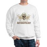 Forensic Anthropology Sweatshirt - A paint spattered grunge skull with wings and floral design in khaki, olive and brown hues. Forensic anthropology apparel and gifts for a forensic anthropologist, scientist, student, teacher or grad. - Availble Sizes:Small,Medium,Large,X-Large,2X-Large (+$3.00) - Availble Colors: White,Ash Grey