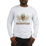 Forensic Anthropology Long Sleeve T-Shirt - A paint spattered grunge skull with wings and floral design in khaki, olive and brown hues. Forensic anthropology apparel and gifts for a forensic anthropologist, scientist, student, teacher or grad. - Availble Sizes:Small,Medium,Large,X-Large,2X-Large (+$3.00),3X-Large (+$3.00) - Availble Colors: White,Ash Grey