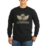 Forensic Anthropology Long Sleeve Dark T-Shirt - A paint spattered grunge skull with wings and floral design in khaki, olive and brown hues. Forensic anthropology apparel and gifts for a forensic anthropologist, scientist, student, teacher or grad. - Availble Sizes:Small,Medium,Large,X-Large,2X-Large (+$3.00),3X-Large (+$3.00),4X-Large (+$3.00) - Availble Colors: Black,Navy