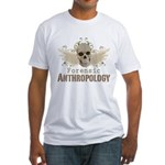 Forensic Anthropology Fitted T-Shirt - A paint spattered grunge skull with wings and floral design in khaki, olive and brown hues. Forensic anthropology apparel and gifts for a forensic anthropologist, scientist, student, teacher or grad. - Availble Sizes:Small,Medium,Large,X-Large,2X-Large (+$3.00) - Availble Colors: White,Natural,Pink,Baby Blue,Sunshine