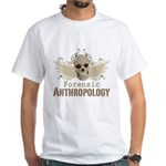 Forensic Anthropology White T-Shirt - A paint spattered grunge skull with wings and floral design in khaki, olive and brown hues. Forensic anthropology apparel and gifts for a forensic anthropologist, scientist, student, teacher or grad. - Availble Sizes:Small,Medium,Large,X-Large,X-Large Tall (+$3.00),2X-Large (+$3.00),2X-Large Tall (+$3.00),3X-Large (+$3.00),3X-Large Tall (+$3.00),4X-Large (+$3.00) - Availble Colors: White