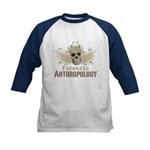 Forensic Anthropology Kids Baseball Jersey - A paint spattered grunge skull with wings and floral design in khaki, olive and brown hues. Forensic anthropology apparel and gifts for a forensic anthropologist, scientist, student, teacher or grad. - Availble Sizes:S (6-8),M (10-12),L (14-16) - Availble Colors: Black/White,Red/White,Navy/White
