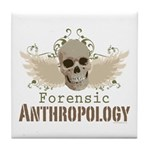 Forensic Anthropology Tile Coaster - A paint spattered grunge skull with wings and floral design in khaki, olive and brown hues. Forensic anthropology apparel and gifts for a forensic anthropologist, scientist, student, teacher or grad.