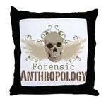 Forensic Anthropology Throw Pillow - A paint spattered grunge skull with wings and floral design in khaki, olive and brown hues. Forensic anthropology apparel and gifts for a forensic anthropologist, scientist, student, teacher or grad.