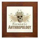 Forensic Anthropologist Framed Tile - A paint spattered grunge skull with wings and floral design in khaki, olive and brown hues. Forensic anthropology apparel and gifts for a forensic anthropologist, scientist, student, teacher or grad.