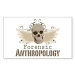 Forensic Anthropology Rectangle Sticker 10 pk) - A paint spattered grunge skull with wings and floral design in khaki, olive and brown hues. Forensic anthropology apparel and gifts for a forensic anthropologist, scientist, student, teacher or grad. - Availble Colors: White,Clear