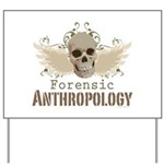Forensic Anthropology Skull Yard Sign - A paint spattered grunge skull with wings and floral design in khaki, olive and brown hues. Forensic anthropology apparel and gifts for a forensic anthropologist, scientist, student, teacher or grad.