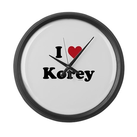 I love Korey Large Wall Clock