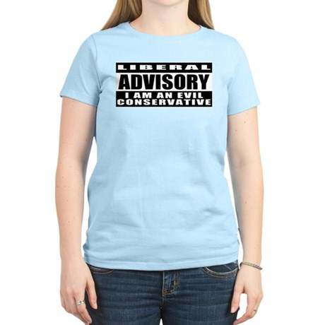 Liberal Advisory (I'm Conservative) Women's Pink T