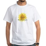 Elegant Sunflower White T-Shirt