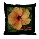 Great Grandma Peach Hibiscus Throw Pillow