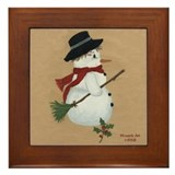 Country Snowman Framed Tile