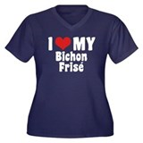 I Love My Bichon Frise Women's Plus Size V-Neck Da