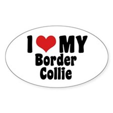 I Love My Border Collie Oval Decal