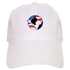 Border Collie B&W Flag Baseball Cap