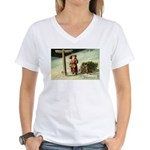 Santa Finding His Way Women's V-Neck T-Shirt