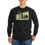 Santa Finding His Way Long Sleeve Dark T-Shirt