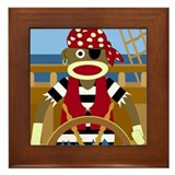 Sock Monkey Pirate Framed Tile