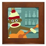 Sock Monkey Acoustic Guitar Framed Tile