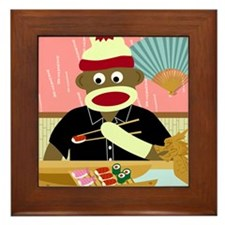 Sock Monkey Sushi Framed Tile