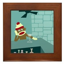 Sock Monkey Martini Framed Tile