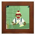 Sock Monkey Martini Bartender Framed Tile