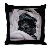 Cute Black pug Throw Pillow