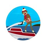 "Sock Monkey Jet Ski 3.5"" Button"