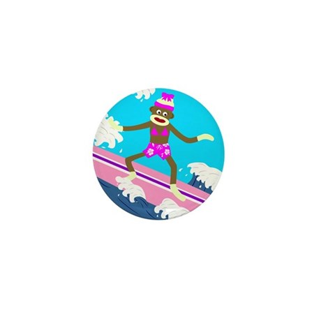 Sock Monkey Surfer Girl Mini Button