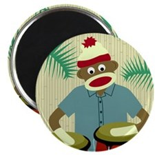 Sock Monkey Conga Drums Magnet