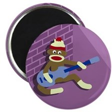 Sock Monkey Blue Guitar Round Magnet