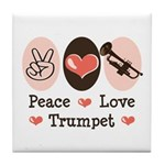Peace Love Trumpet Tile Coaster