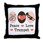 Peace Love Trumpet Throw Pillow