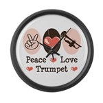 Peace Love Trumpet Large Wall Clock