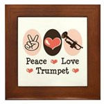 Peace Love Trumpet Framed Tile
