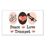 Peace Love Trumpet Rectangle Sticker 10 pk)