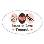 Peace Love Trumpet Oval Sticker